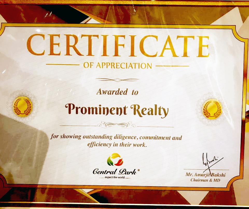 central park certificate
