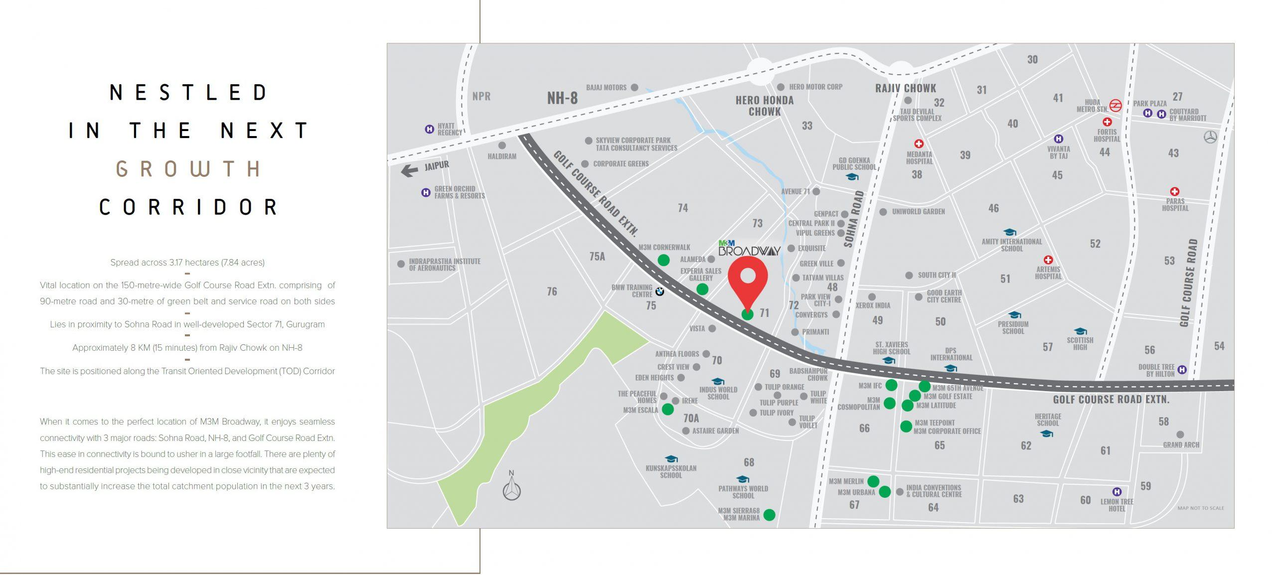 m3m broadway location map